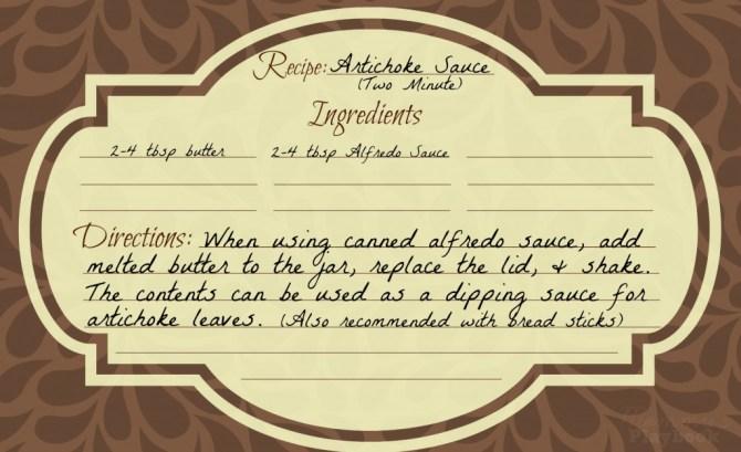 Artichoke Sauce Card