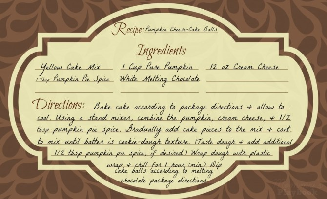 Pumpkin Cheese-Cake Recipe Card