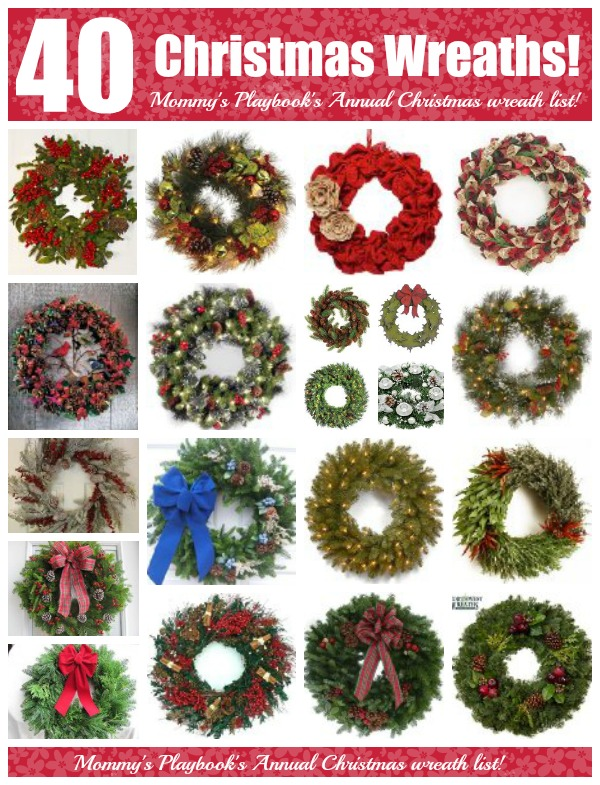 Mommy's Playbook's Annual Christmas Wreath Collection; 40 Christmas Wreaths