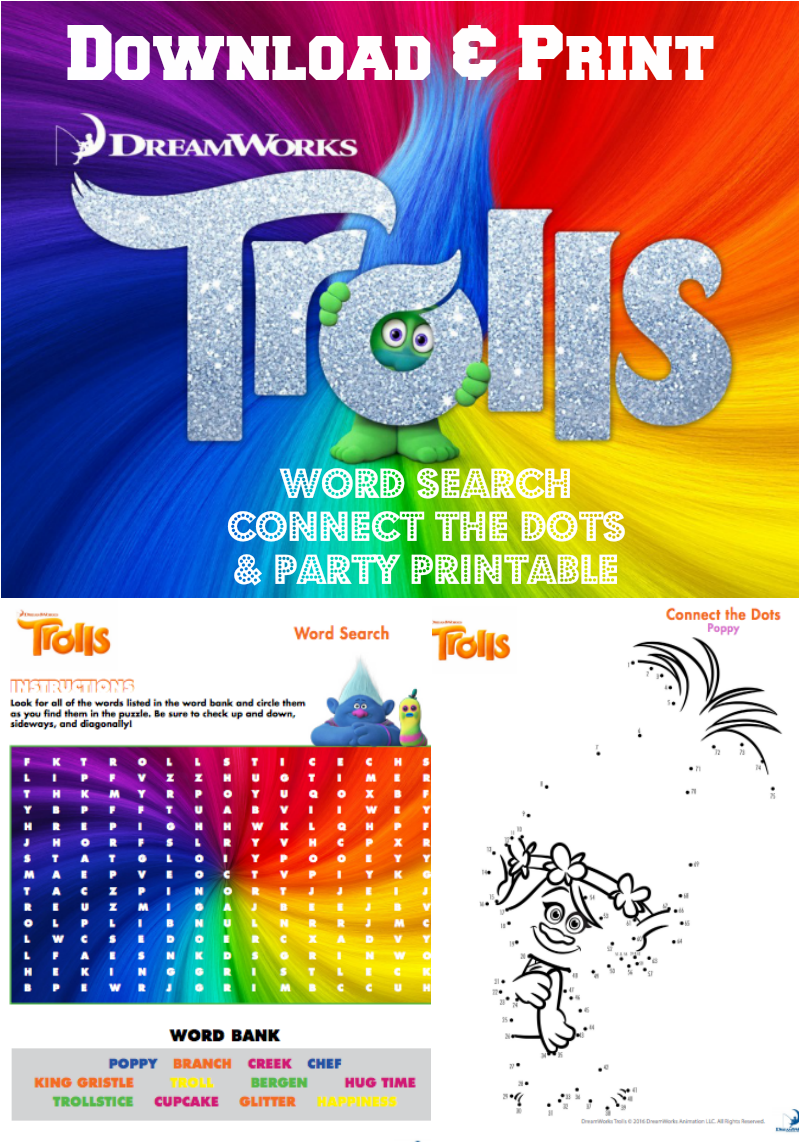 Trolls Party Printable