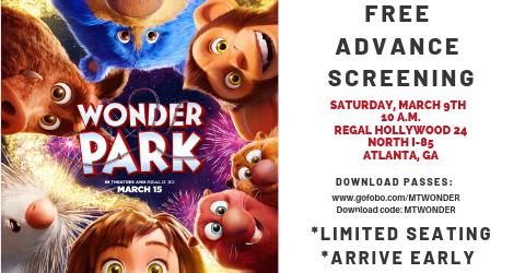 Get Free Passes to Atlanta @WonderParkMovie Screening: Saturday, March 9th