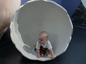 Hanging out in a giant egg shell.
