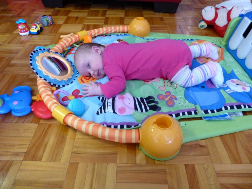 Typical tummy time on the floor.