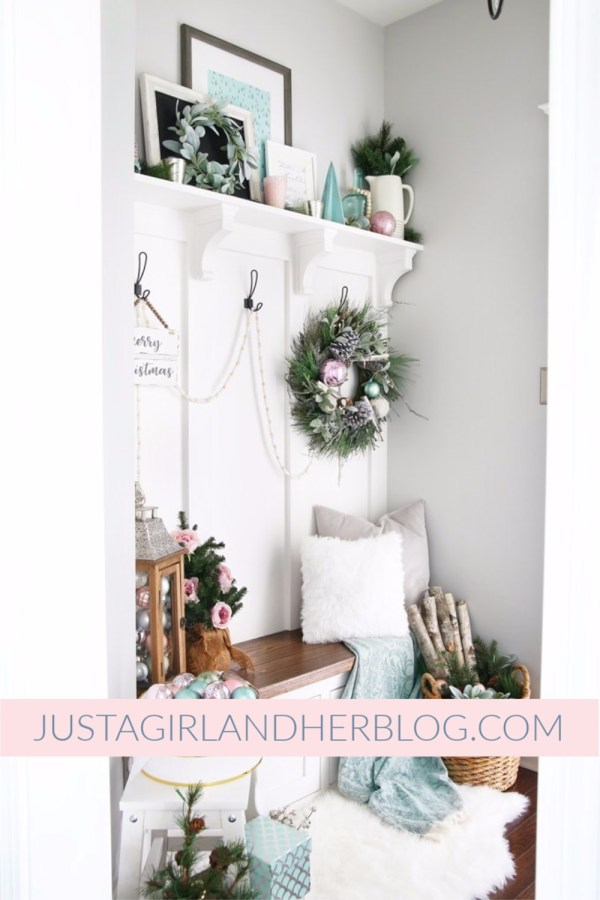 Just A Girl And Her Blog Pastel Mudroom For Christmas