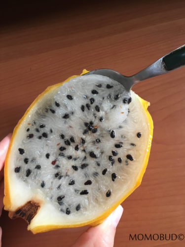 Yellow Dragonfruit with spoon