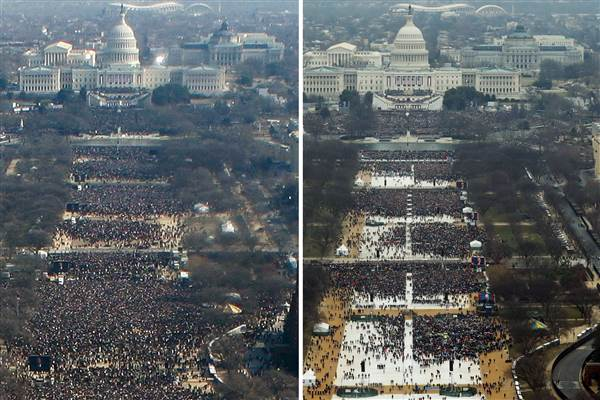 Inauguration Crowd Size - Barack Obama and Donald Trump