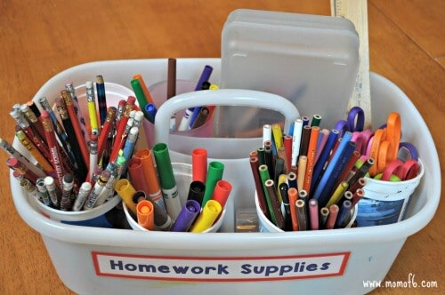 Homework Caddy- elementary school