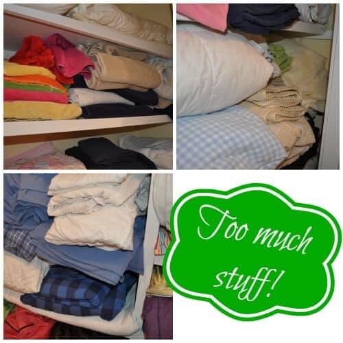Linen Closet Before- too much stuff