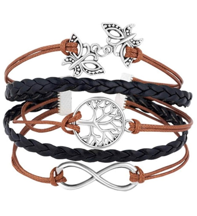 Leather Wrap Infinity Tree of Life Rope Wristband Bracelets
