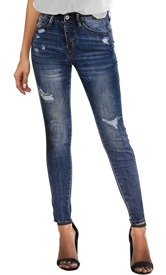 Women's High Rise Skinny Jeans Ripped Slim Fit Stretch Denim Pants