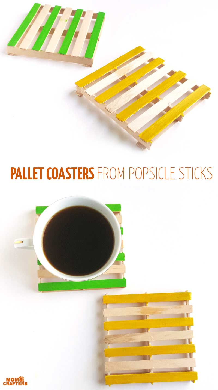 Popsicle Stick Coasters : popsicle, stick, coasters, Pallet, Coasters, Popsicle, Sticks, Crafters