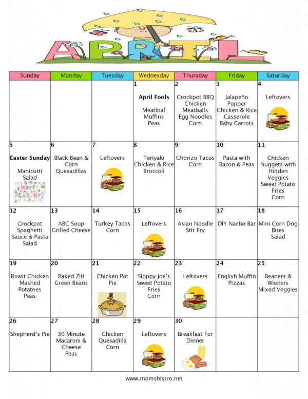 April 2015 Month Of Meals Menu; Grocery List - Mom s Bistro-page-001