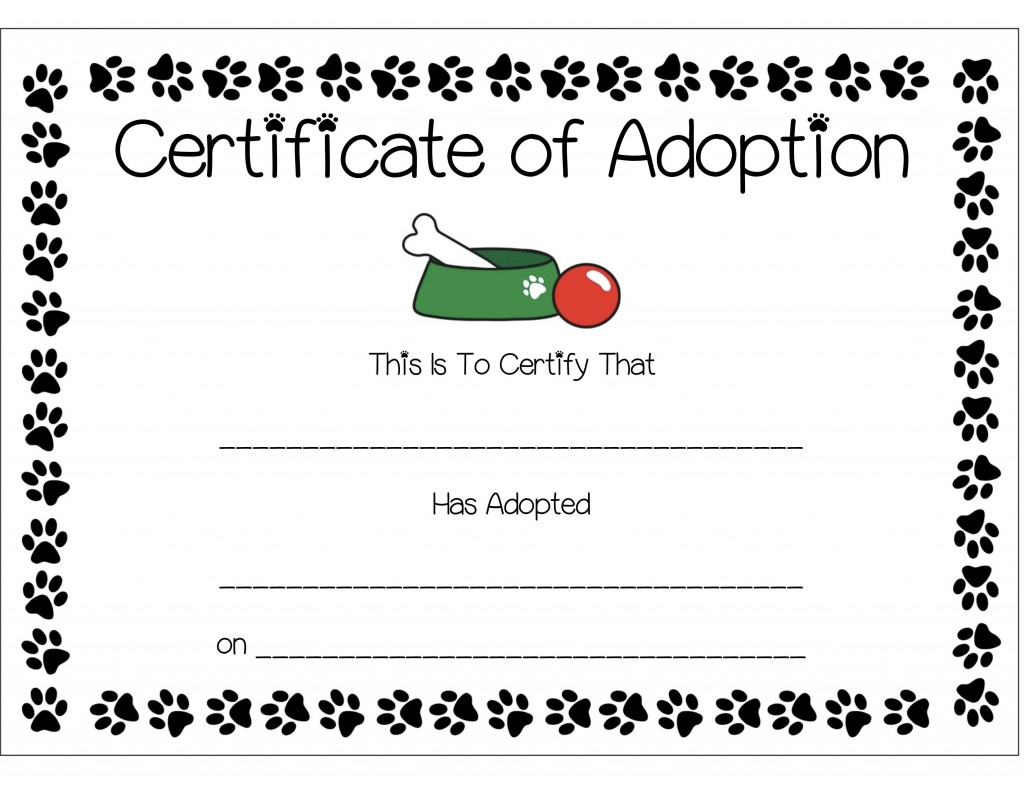 Puppy adoption certificate templates
