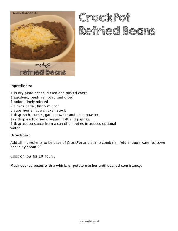 CrockPot Homemade Refried Beans Recipe Easy Kid Friendly moms bistro