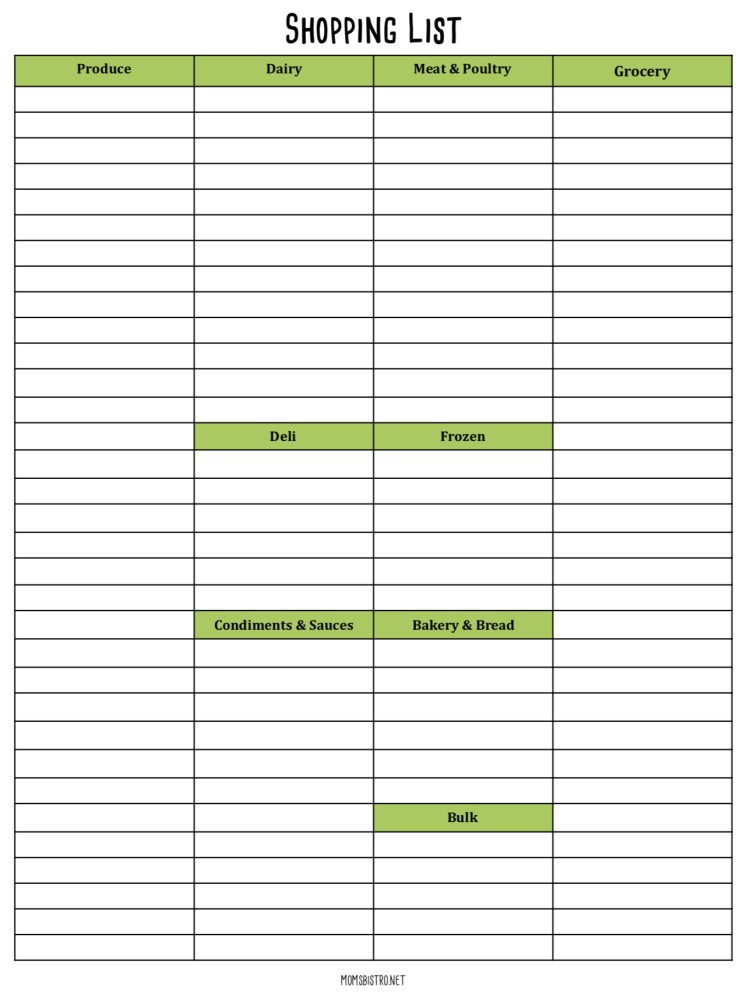 Free Meal Planning Printable Grocery List Moms Bistro