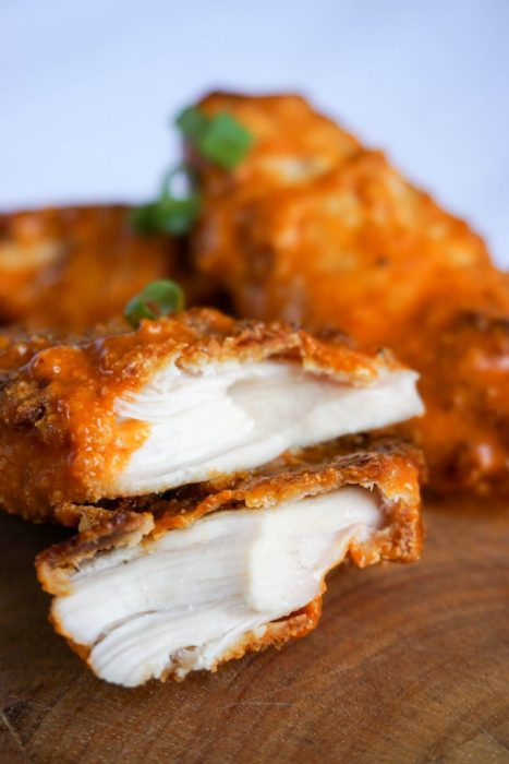 This Baked Chicken Tenders recipe is so perfect. The awesome thing is that you use almond flour. And the Buffalo Sauce is simply the best!