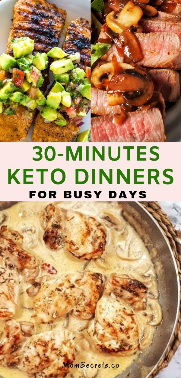 If you're short on time and big on hungry, try these keto dinner recipes I choose for you. In less than 30 minutes you have your dinner on table. #keto #ketodinner