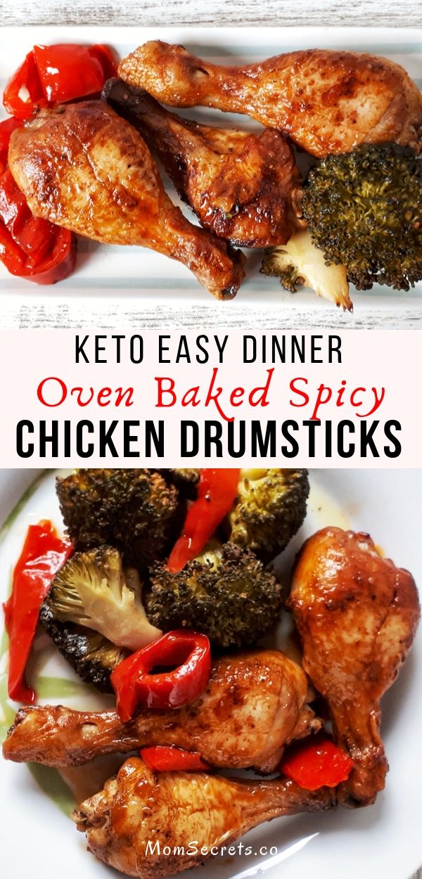 These baked chicken drumsticks are a perfect low carb, glúten-free, and paleo dinner. They are tasty, delicious and so easy to make. #chickendinner