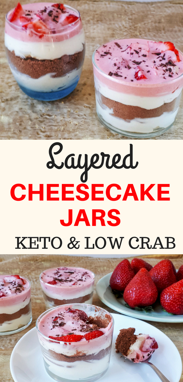 These delicious no-bake cheesecakes layered in jars and topped with fresh strawberries are so quick and easy to prepare and they also are healthy... they are low carb, keto friendly and sugar-free.