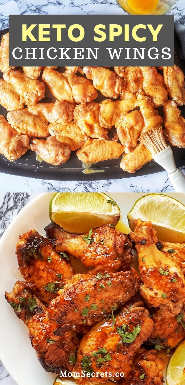 Baked Keto Chicken Wings are sweet, spicy and crispy on the edges. They are paleo and keto friendly. These wings are fantastic!!! #ketochicken
