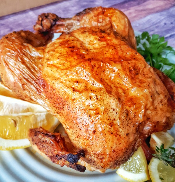 Lemon Thyme Toast Chicken makes a tender, fresh and juicy chicken dinner. This oven whole chicken recipe is keto, low carb and healthy.