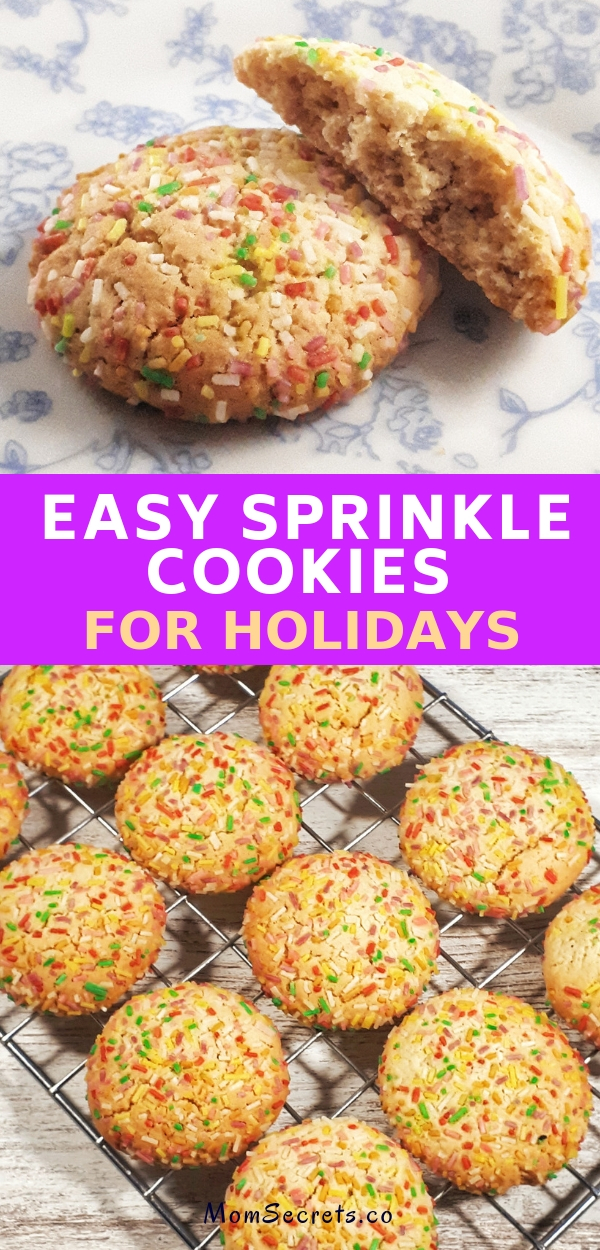 Sprinkle cookies are an easy and fun recipe that is perfect for holidays and any kids birthday's party. They are perfectly chewy, soft and thick with a buttery consistency.