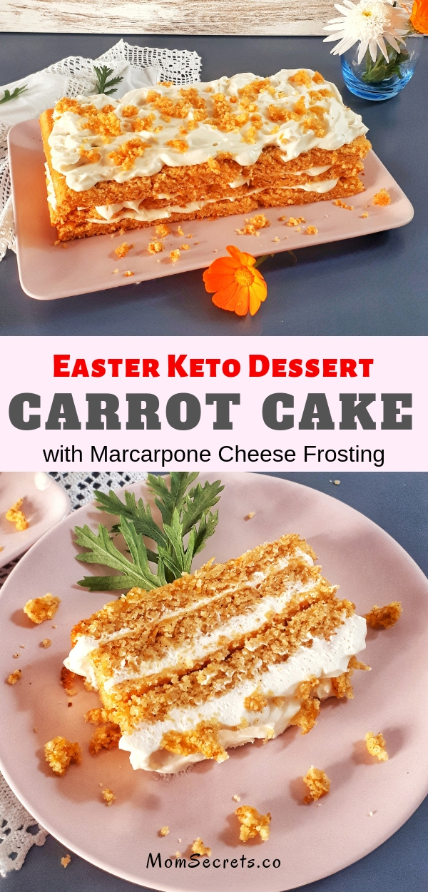 Keto carrot cake is a perfect Easter dessert. It's moisty and fluffy withlots of spices...The BEST carrot cake! #easterdessert #ketodessert