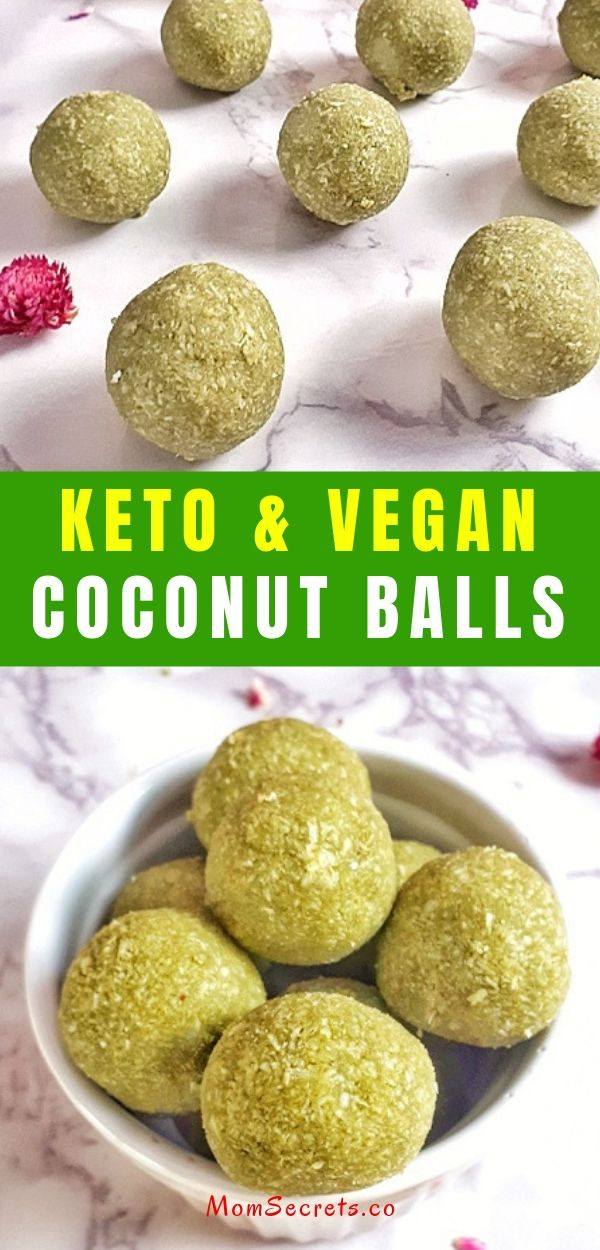 Matcha Tea Energy Balls are a healthy, keto and vegan snack, breakfast or dessert. Don´t miss this grab and go treat recipe. #keto #vegan #energyballs