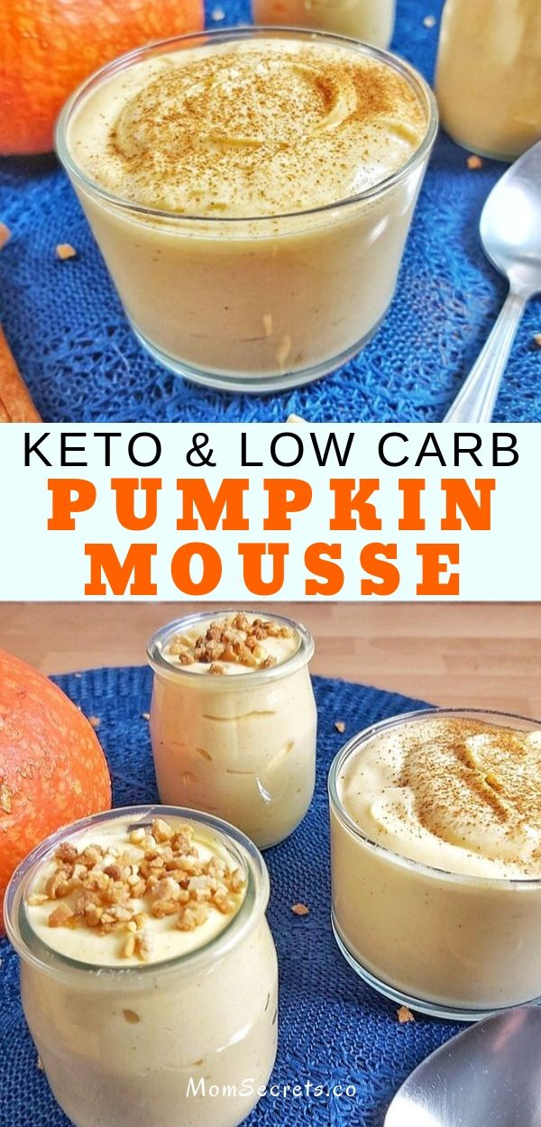 This super light and fluffy Pumpkin Cheesecake Mousse is a low carb, keto and sugar-free dessert that is packed with fall spices and pumpkin flavor.