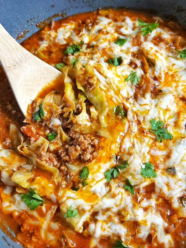 This delicious Keto Low Carb Unstuffed Cabbage Skillet is a quick and easy one-pan meal that is full of fantastic flavor.