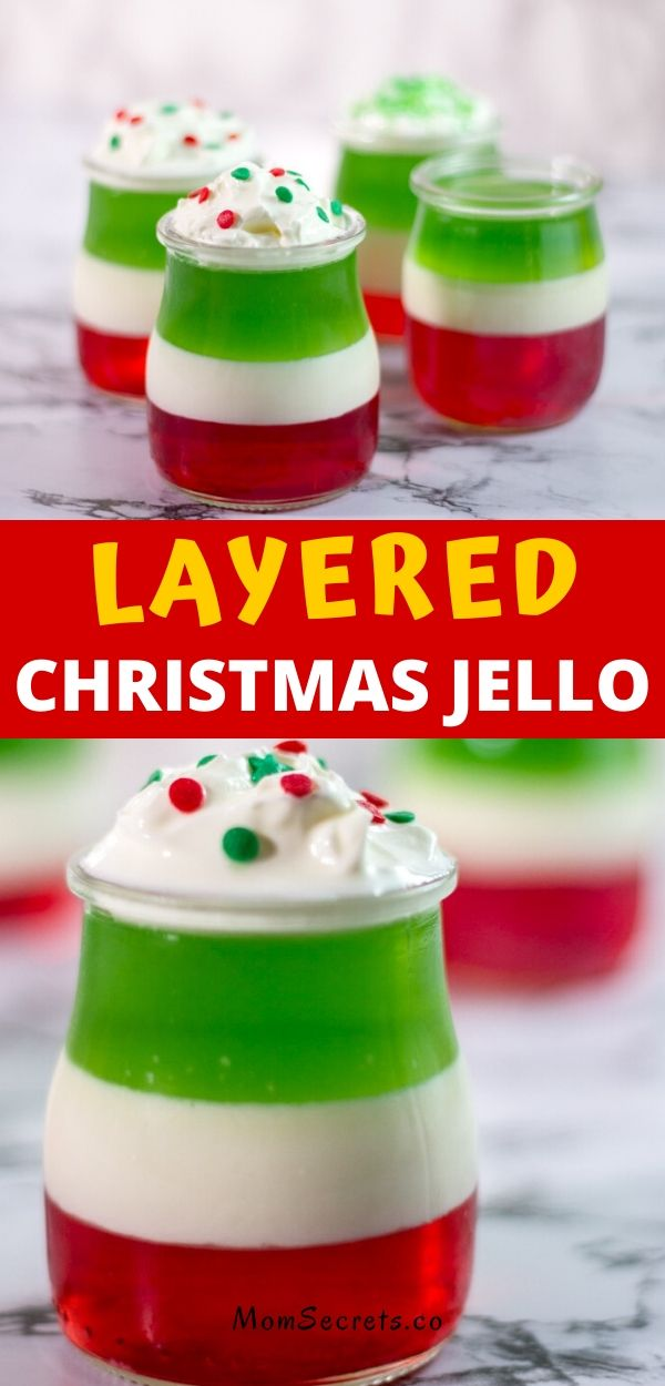 Layered Christmas Jello cups are fun, festive and easy to make for holiday parties! Two boxes of Jell-O and some whipped topping is all that is needed.