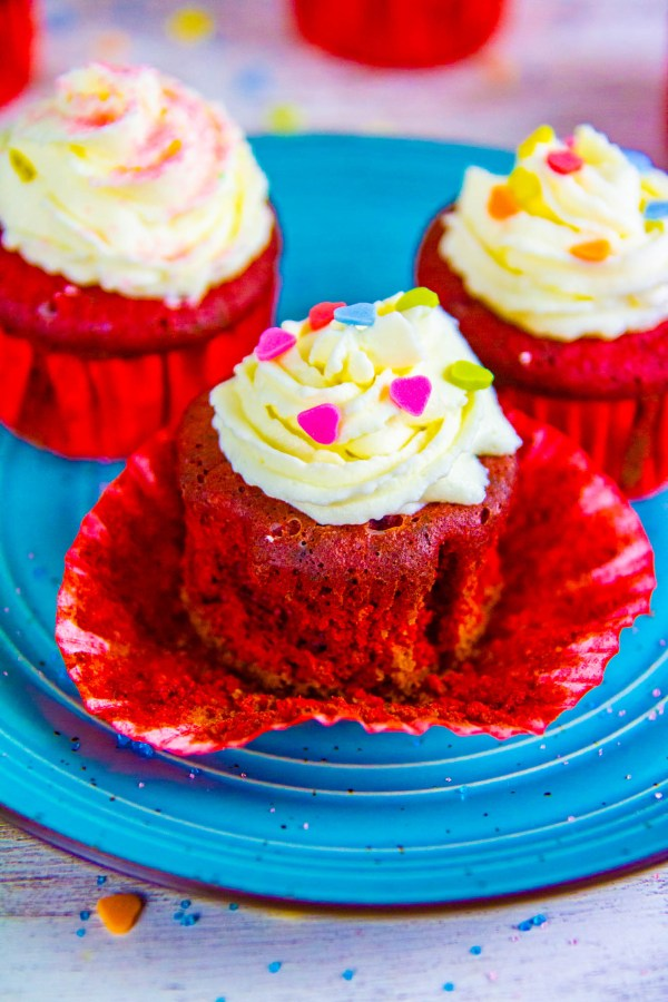 These Keto Low Carb Red Velvet Cupcakes are soft, light, moist, and topped with an easy and delicious Mascarpone cheese frosting. Perfect for any occasion!