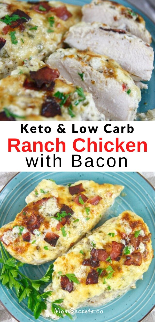 This easy Keto Low Carb Baked Ranch Chicken with Bacon is perfect for busy weeknight dinners. It takes 30-40 minutes to make.