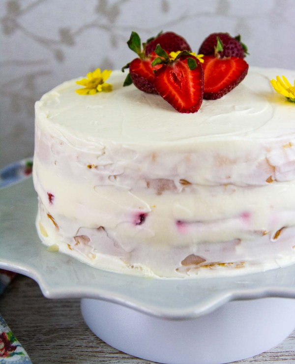 This Keto Vanilla Birthday Cake is super moist, fluffy, and delicious. Covered in vanilla mascarpone cheese frosting, this vanilla cake is really the best.