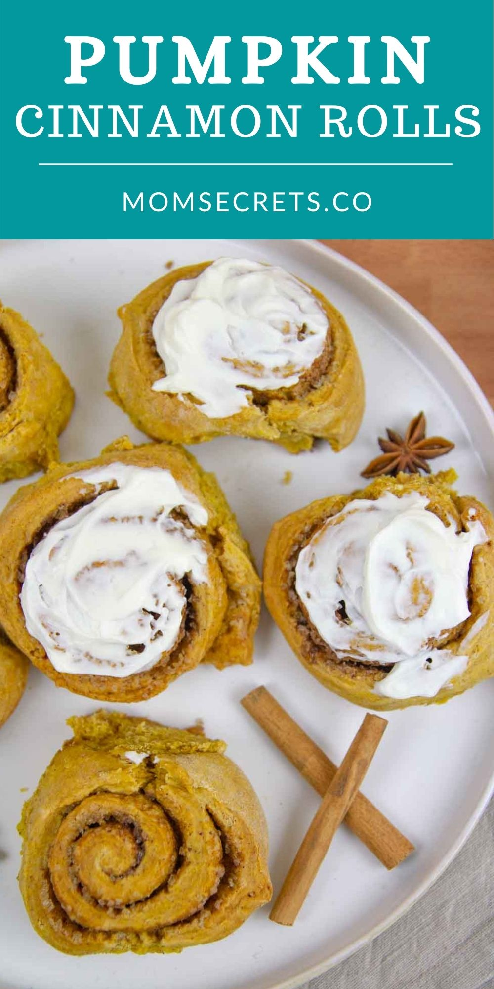 Pumpkin Cinnamon Rolls are great for Thanksgiving, Christmas morning, or anytime you crave the easiest, softest and all-around best ever Pumpkin Cinnamon Rolls during fall! #fallrecipes #pumpkin #thanksgivingrecipes #holidaybaking #holidayrecipes #brunch #pumpkinspice #pumpkinrecipes #cinnamonrolls #fall #autumn #thanksgivingbreakfast