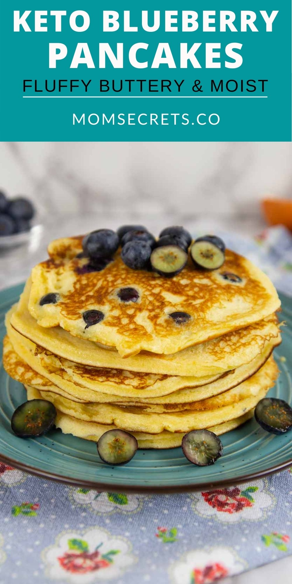 These Keto Blueberry Pancakes are buttery, fluffy, and thick. They're made with almond flour and each pancake is studded with juicy blueberries. #ketobreakfast #healthypancakes #pancakes #blueberrypancakes #ketorecipes