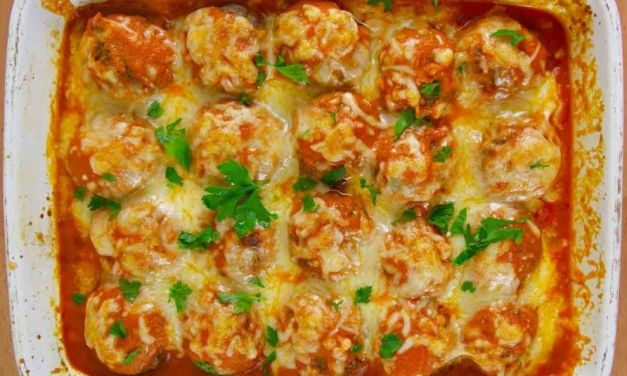 Cheesy Baked Meatballs Casserole (Keto & Low Carb Recipe)