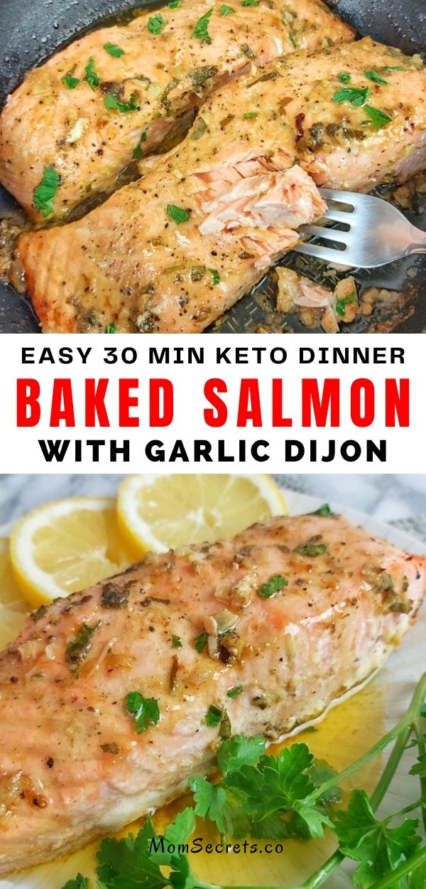 Best Baked Salmon with Garlic Dijon is an easy and flavorful keto dinner recipe made with simple ingredients that take only 30 minutes to be on your table. #keto #salmon #ketodinner #healthydinner