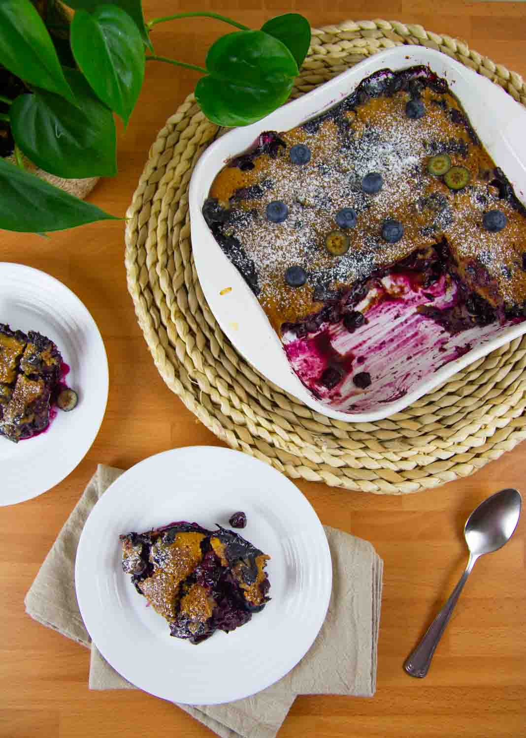This healthy cobbler recipe is made with a gluten-free oat flour spooned over fresh, juicy blueberries then baked in the oven. It's crazy delicious and the perfect summer dessert.