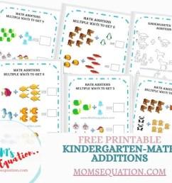 Addition Worksheets For Kindergarten -Free Printables - Mom'sEquation [ 800 x 1000 Pixel ]
