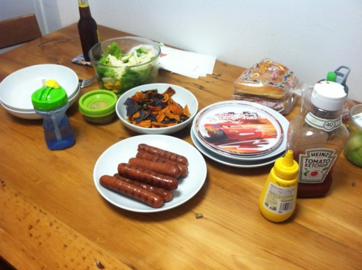The feast...with hotdogs of course.