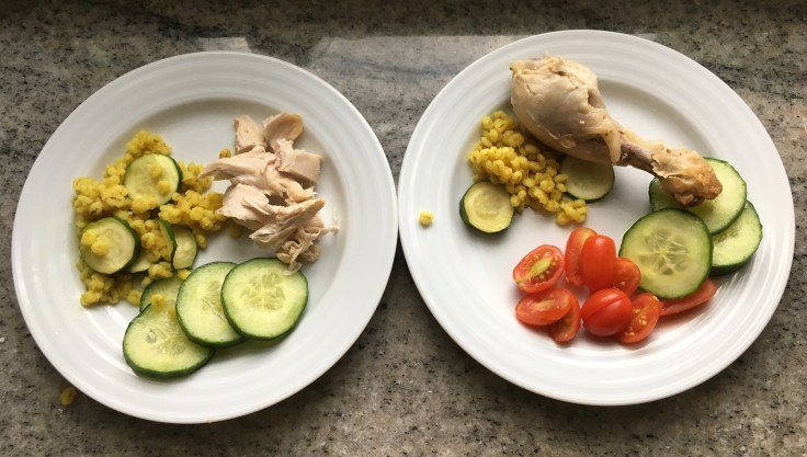 Kids plates - barley, roast chicken, steamed zucchini & grape tomatoes