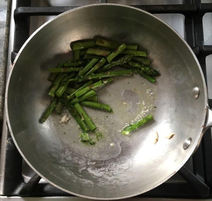 Sautéing the asparagus....