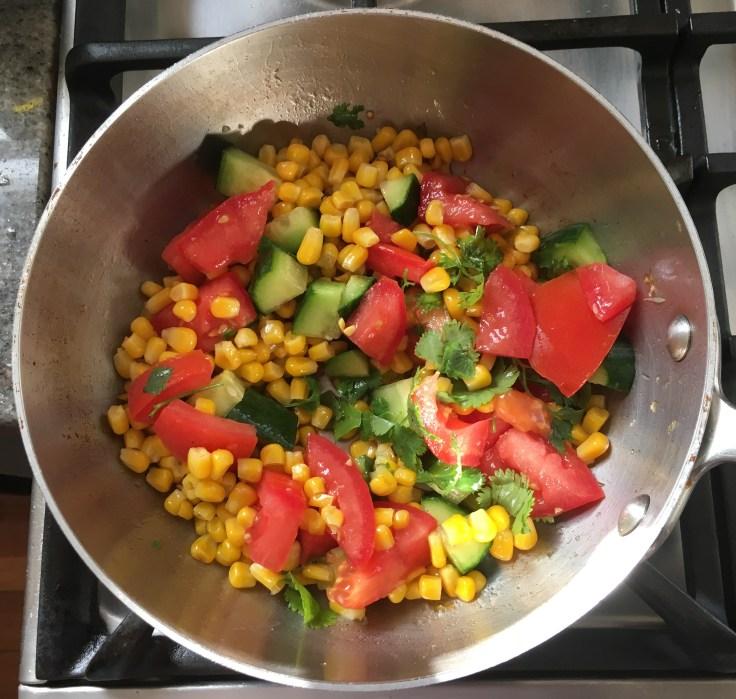 Warm corn, zucchini & tomato salad.