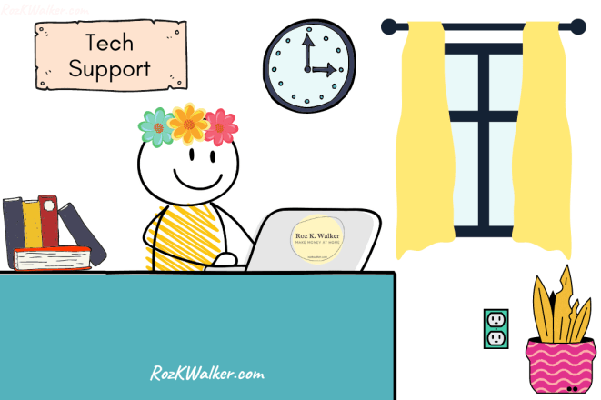 Cartoon stay at home mom providing tech support as a side job for stay at home moms