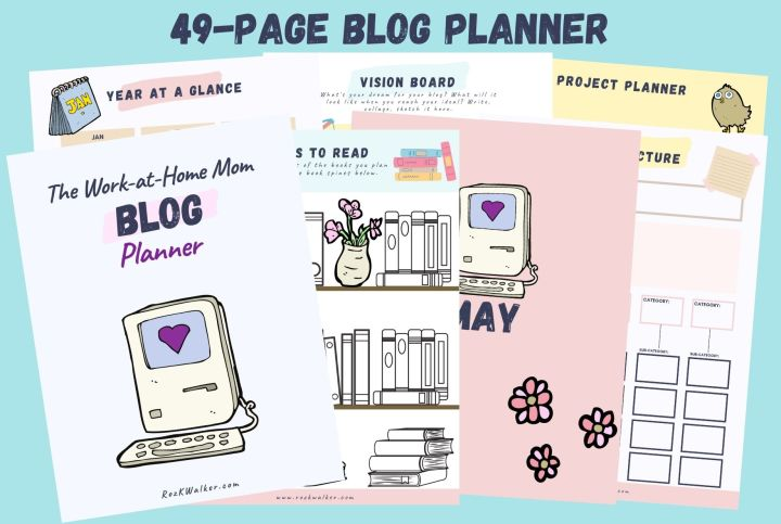 Image of pages of the 49-page blog planner for work at home moms