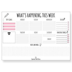 cupcakes weekly planner