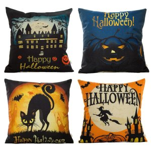 4-Pack Happy Halloween Square Decorative Throw Pillow Case