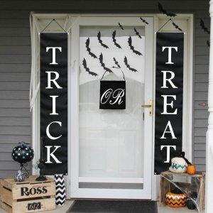 PartyTalk 3pcs Trick or Treat Halloween Banner Outdoor