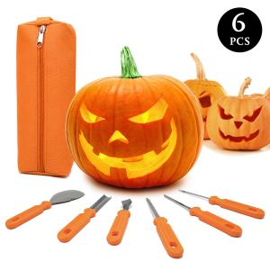 Halloween Pumpkin Carving Kit,6 Pieces Heavy Duty Stainless Steel Carving Tools Set